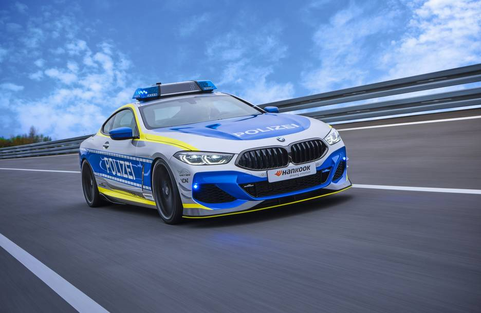 "Hankook's Ventus S1 evo 3 tyres on the new 2021 ""TUNE IT! SAFE!"" campaign vehicle, the BMW 850i xDrive Coupé"